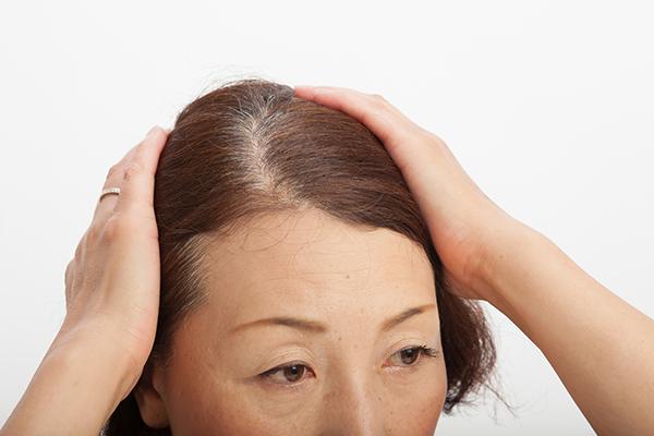 髪を気にする女性のイメージ